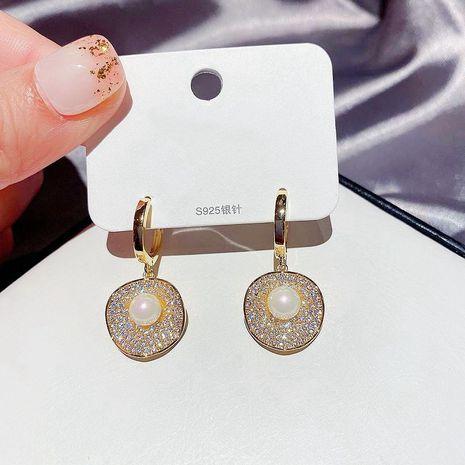 Boucles d'oreilles incrustées de perles de mode pleines de diamants NHCG254933's discount tags