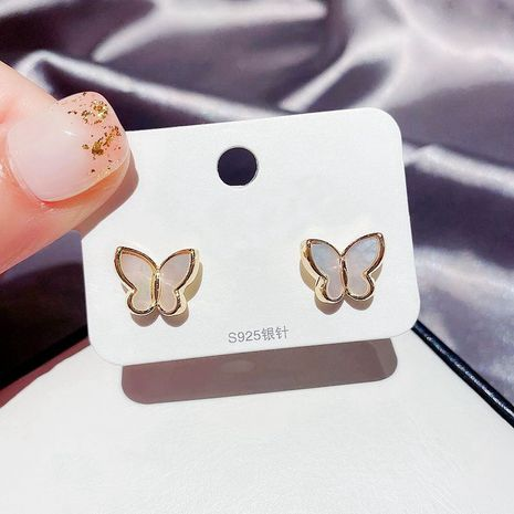 Fashion Natural Shell Stereo Butterfly Gold Plated Earrings NHCG254942's discount tags