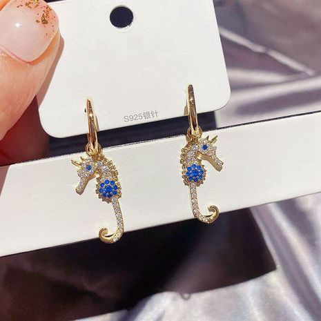 Fashion full diamond zircon micro-inlaid hippocampus earrings NHCG254943's discount tags