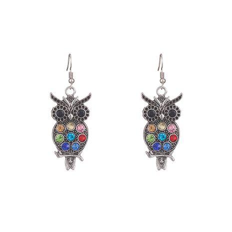 new alloy retro diamond owl earrings wholesale NHOA254963's discount tags