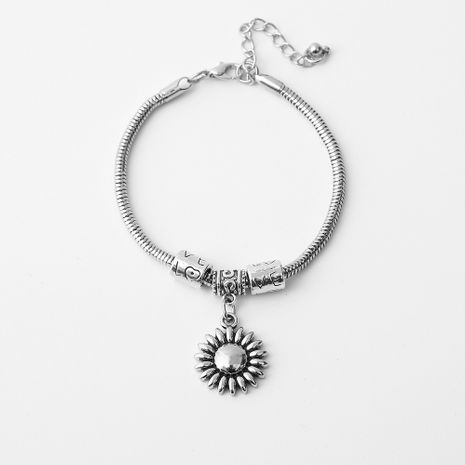 Hot selling simple alloy sunflower pendant chain bracelet wholesale NHOA254968's discount tags