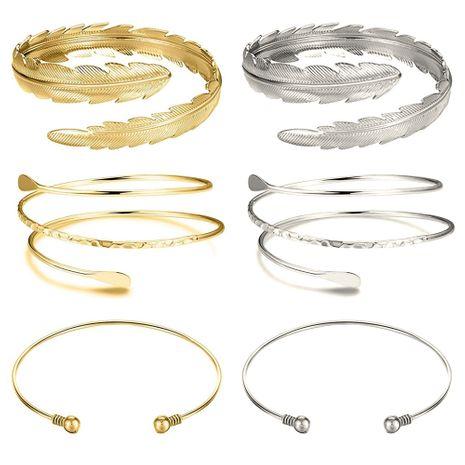 best selling geometric metal arm ring leaf bracelet set wholesale  NHOA254972's discount tags
