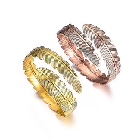 hot selling simple retro metal bracelet leaf arm ring wholesale NHOA254973's discount tags