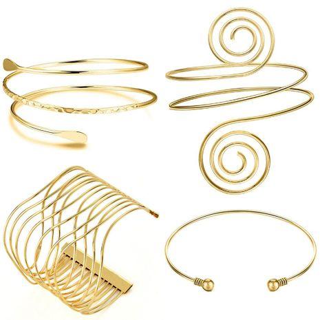 vente chaude métal géométrique creux spirale bras anneau bracelet ensemble en gros NHOA254974's discount tags
