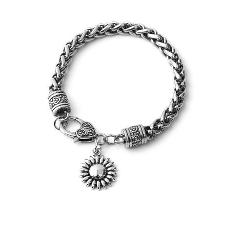 New retro alloy sunflower pendant chain bracelet wholesale NHOA254976's discount tags