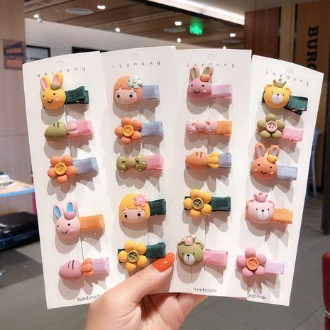 Korean new children's baby hairpin cute cartoon animal bear flower hairpin side clip wholesale  NHCQ255110's discount tags