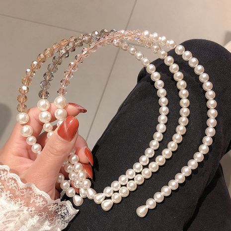 Fashion pearl crystal headband wholesale NHCQ255113's discount tags