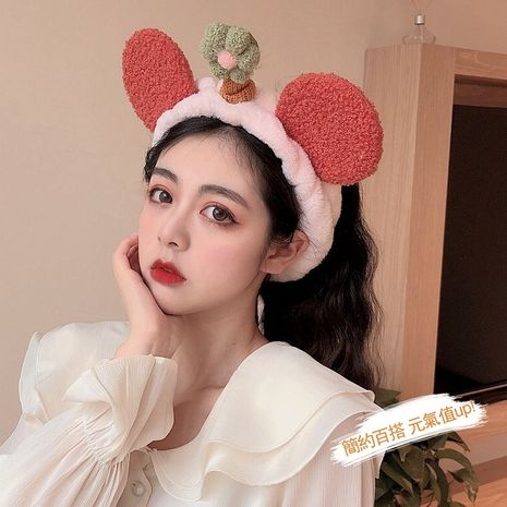 fruit shell with bear ears cute cartoon fabric florets face wash plush beauty bundle hairband  NHCQ255115's discount tags