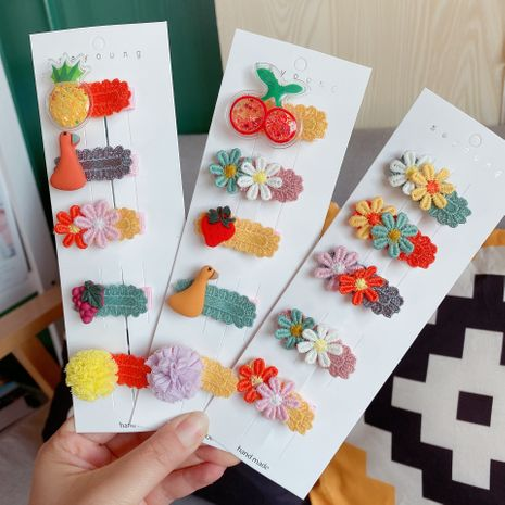 Children's cartoon fruits and vegetables acrylic cute hairpin side clip wholesale  NHCQ255117's discount tags