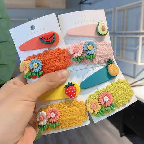 Korean  new fruit daisy flower fabric  bangs clip wholesale  NHCQ255132's discount tags