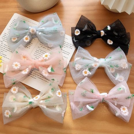big bow embroidery daisy hair clip back head horizontal clip spring clip hair clip wholesale  NHCQ255176's discount tags