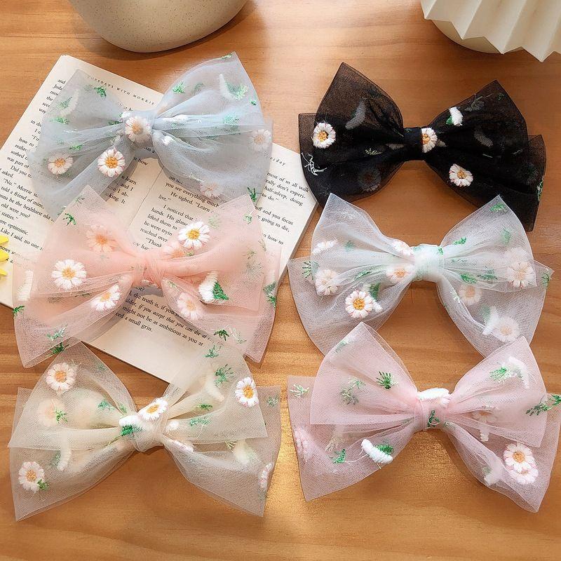 big bow embroidery daisy hair clip back head horizontal clip spring clip hair clip wholesale  NHCQ255176