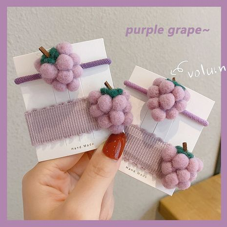 Korea new purple grape hair rope heart handmade wool fruit hair rope wholesale  NHCQ255169's discount tags