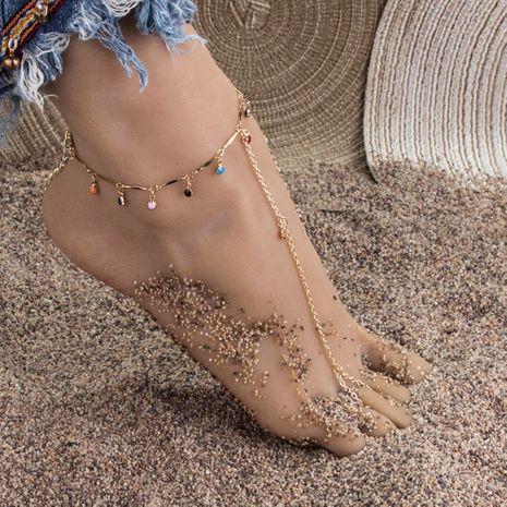 style chaud populaire simple couleur goutte à goutte chaîne pendentif simple couche plage cheville en gros NHBQ255262's discount tags