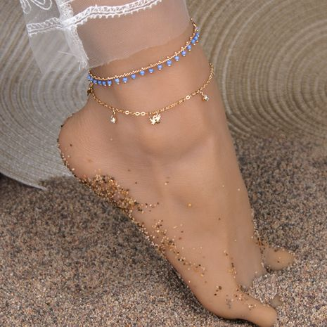 new hot-selling Bohemian turquoise sequin butterfly anklet wholesale NHBQ255258's discount tags
