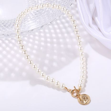 New artificial pearl coin pendant necklace creative retro simple  necklace NHYI254748's discount tags