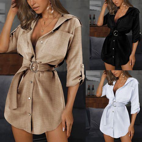 Moda nueva rebeca de encaje color sólido camisa con mangas vestido al por mayor NHWA255256's discount tags