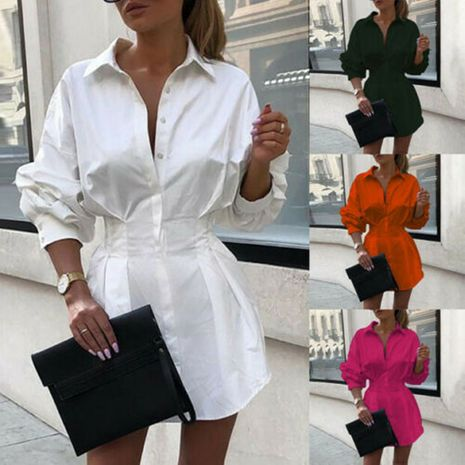 Forme la nueva venta al por mayor de la camisa de las señoras de la decoración del botón de la cintura del color sólido NHWA255255's discount tags
