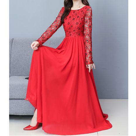 Moda nueva cintura que adelgaza el vestido de costura de gasa de encaje delgado NHJG255252's discount tags