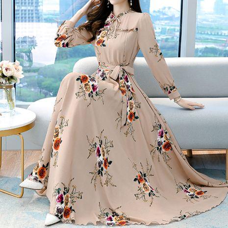 Vestido de manga larga estampado elegante y delgado con cintura nueva de moda NHJG255251's discount tags