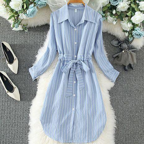 Vestido de camisa a rayas de moda para mujer NHJC255250's discount tags
