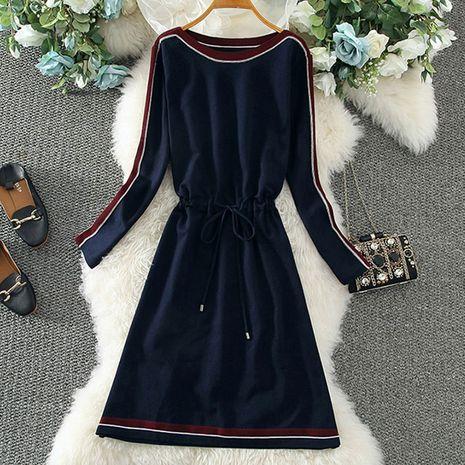Nuevo vestido de contraste de adelgazamiento de cintura de tejido simple y de moda para mujer NHJC255249's discount tags