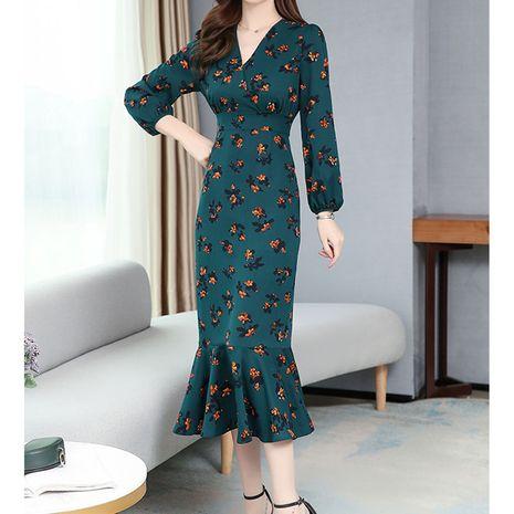 Nuevo vestido floral retro francés falda larga de cola de pez de manga larga NHJC255248's discount tags