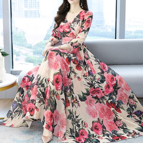 Vestido de gasa estampado elegante adelgazante delgado de cintura nueva NHJG255244's discount tags