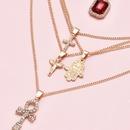 fashion womens multilayer angel cross gemstone full diamond palm alloy necklace  NHAJ255275
