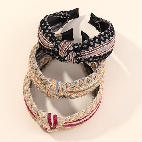 Fashion multi-strand bright line wide-sided hairband knotted headband NHAU255281's discount tags