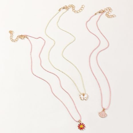 Korean New Butterfly Girls Non-fading Rose Gold necklace set  wholesale NHNU255290's discount tags