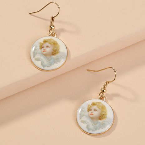 Korean round pendant sweet and clear little angel portrait earrings wholesale NHAN255298's discount tags