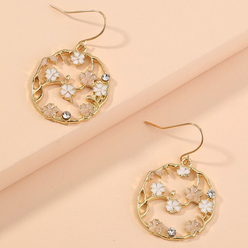 Fashion sweet and cute fresh small flowers geometric ear hook earrings NHAN255302
