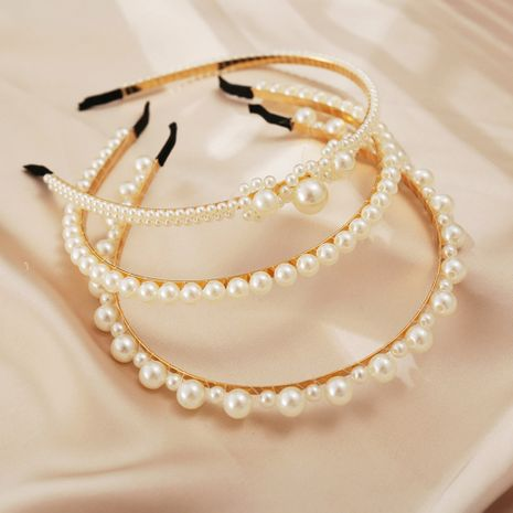 pearl new simple fashion  princess  retro headband wholesale NHPJ255303's discount tags
