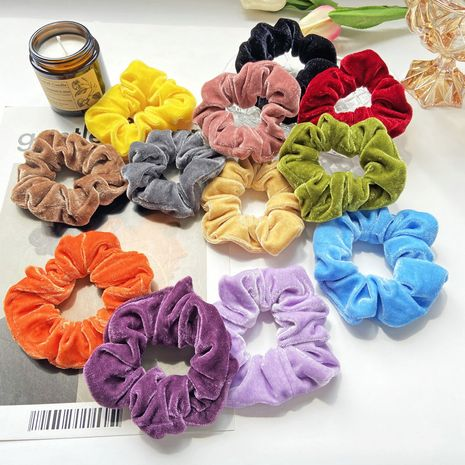 Candy color velvet circle retro girl hair rope sweet ball hair scrunchies wholesale NHPJ255307's discount tags