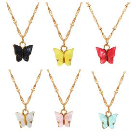 Sweet new Acrylic Butterfly Simple Sweet Beauty alloy Pendant Necklace For women NHPJ255309