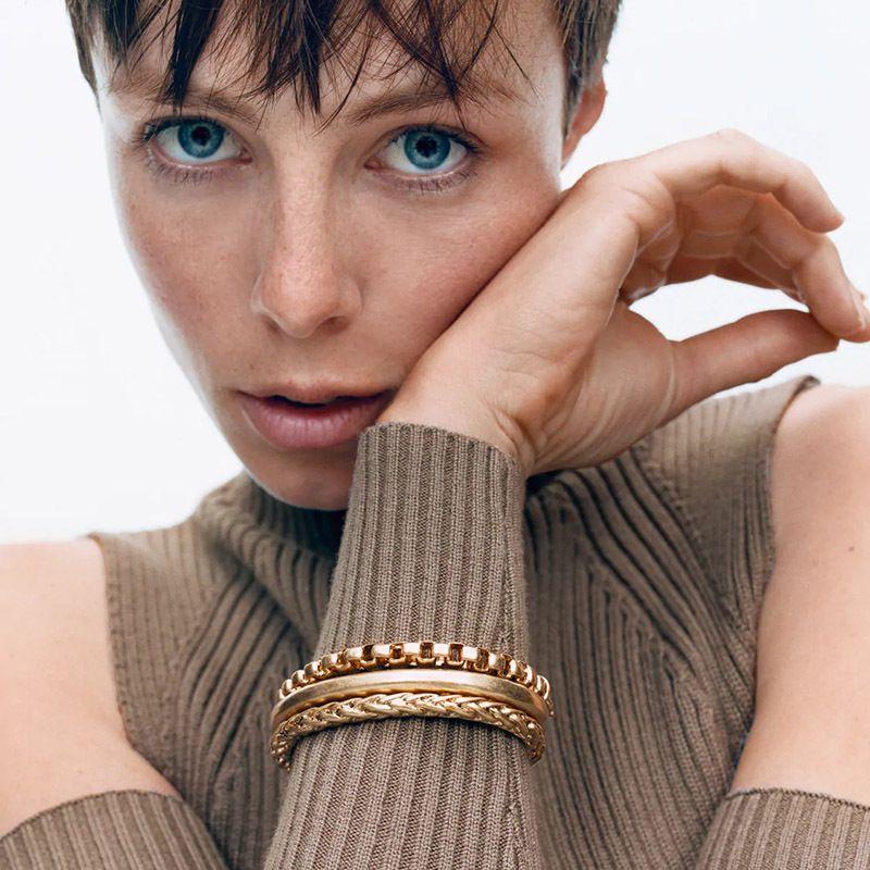 Modetrend drei Metall mehrschichtigen Wildlegierung Armband Anzug fr Frauen NHLA255318