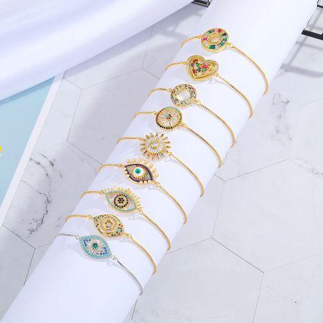 Pulsera ajustable multicolor simple religiosa de ojo de circón colorido de nueva moda NHGO255322's discount tags