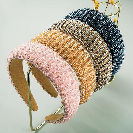 Korean retro Baroque Hand-woven crystal brim Sponge headband wholesale NHLN255336's discount tags
