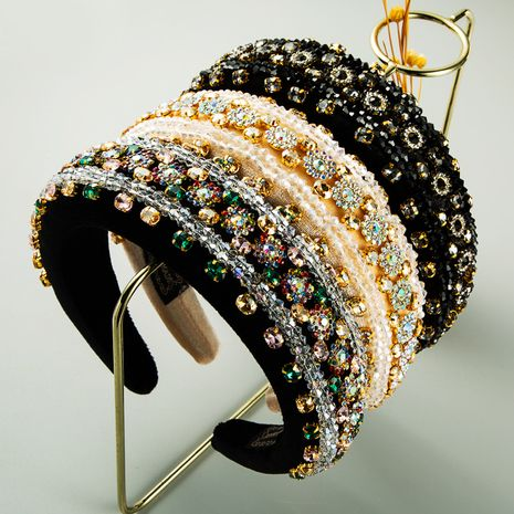 Fashion retro baroque luxury full diamond headband wholesale NHLN255340's discount tags