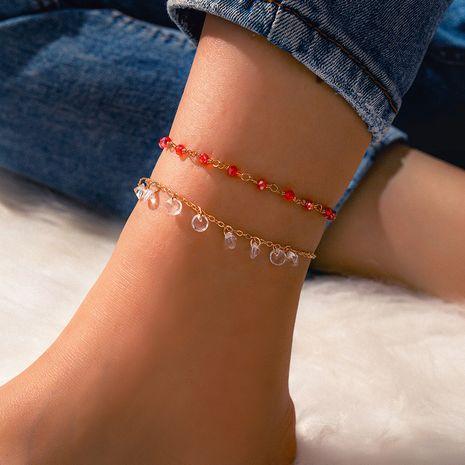 ensemble de cheville de dames de cristal de perle rouge simple de mode NHGY255355's discount tags