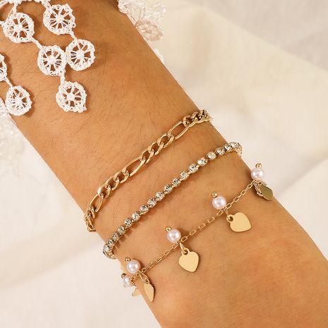 nueva moda cadena de ondas de agua lentejuelas perla blanca amor corazón pulsera conjunto de 3 piezas NHGY255360's discount tags