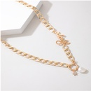 fashion simple alloy letter star pearl circle pendant single layer clavicle chain necklace for women NHGY255363