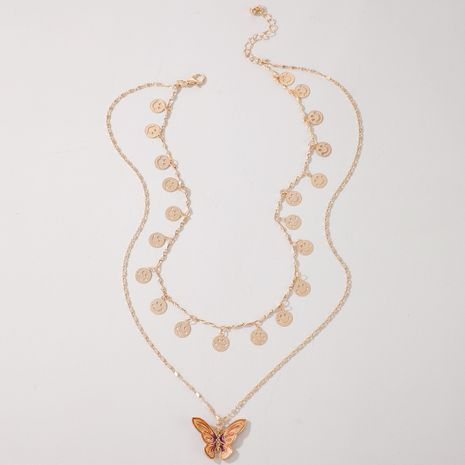Fashion multi-layer wild disc butterfly alloy necklace clavicle chain NHGY255370's discount tags