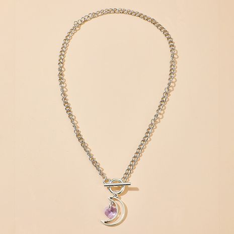New fashion retro word moon crystal love-shaped wild alloy pendant necklace NHGY255376's discount tags