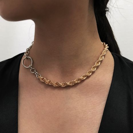 Fashion simple metal buckle chain short clavicle chain trend ladies necklace NHMD255383's discount tags