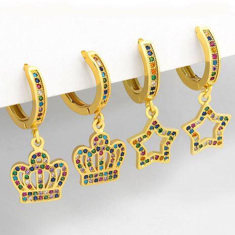 new  micro-inlaid color zircon crown fashion five-pointed star cooper earrings  NHAS255387's discount tags