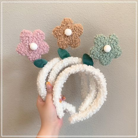 washing cartoon plush headband cute little flower hairpin headdress wholesale NHOF255401's discount tags