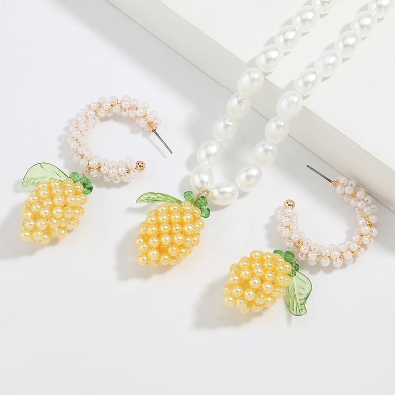 Fashion resin mango pearl C-shaped trendy earrings necklace set jewelry NHJE255434