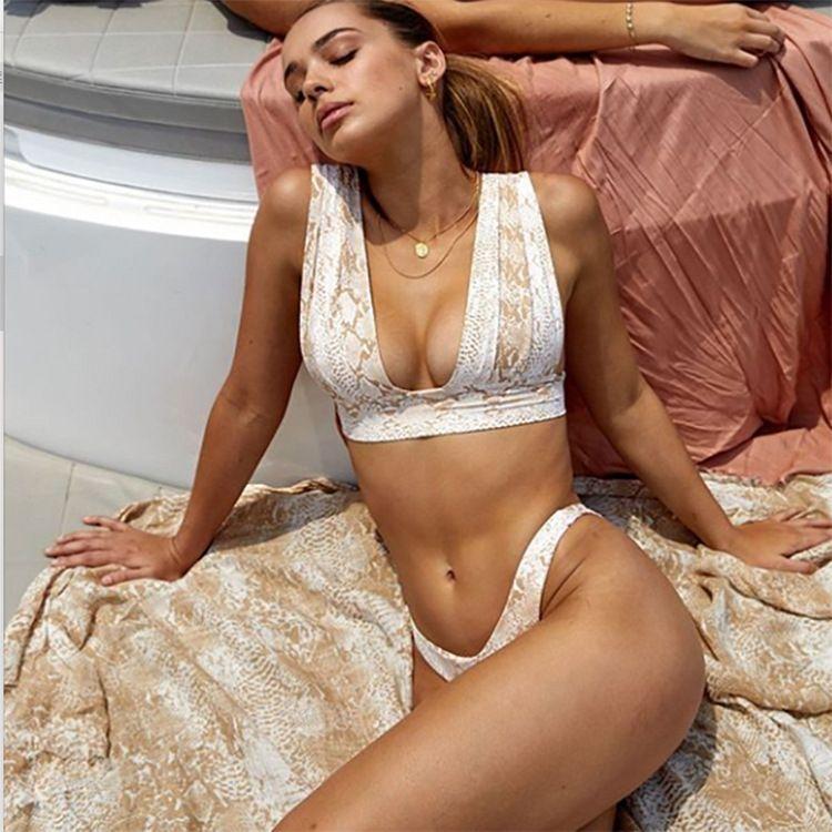 new snake print strap swimsuit wide shoulder strap ladies bikini wholesale NHHL255442